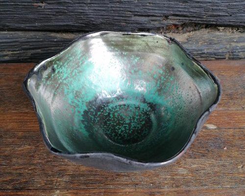 schwarz-grün-gold keramik schale