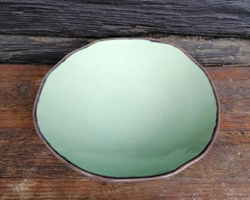 keramik schale aqua innen braunes muster außen