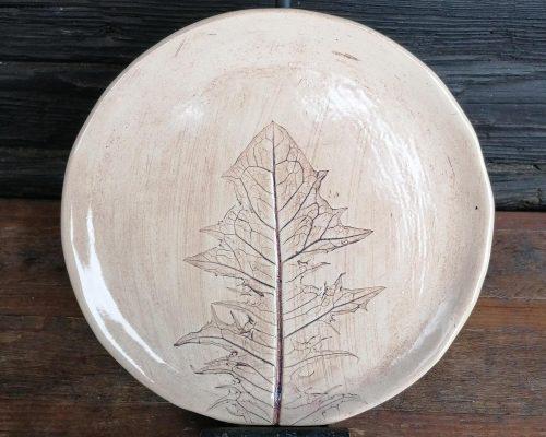 groß keramik teller mit löwenzahnabdruck