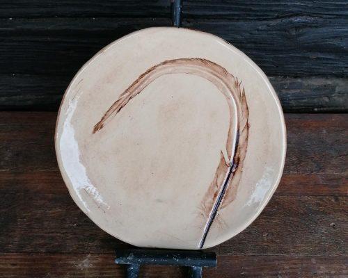 klein keramik teller mit federabdruck