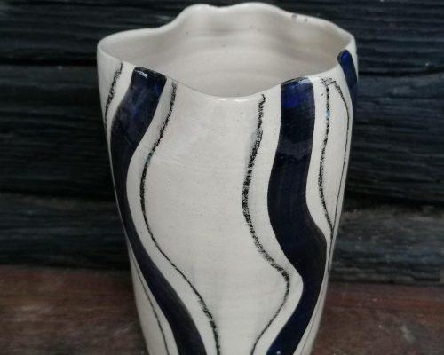 groß schwarz-weiß keramik vase