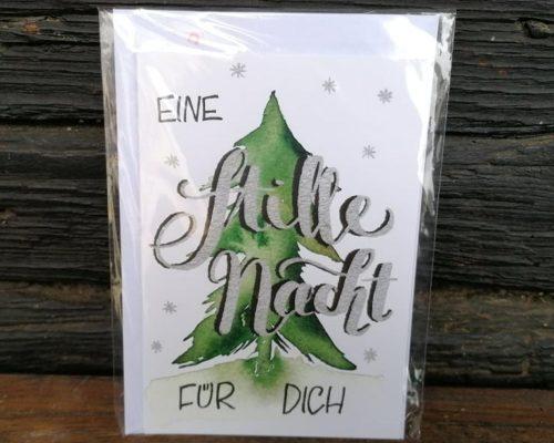 lettering weihnachtskarte weihnachtsbaum