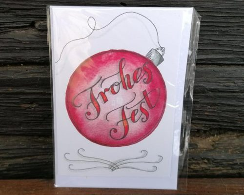 lettering weihnachtskarte weihnachtskugel