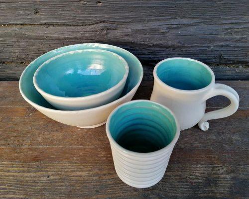 keramik set weiß Blau