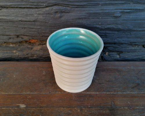 keramik pecher weiß blau