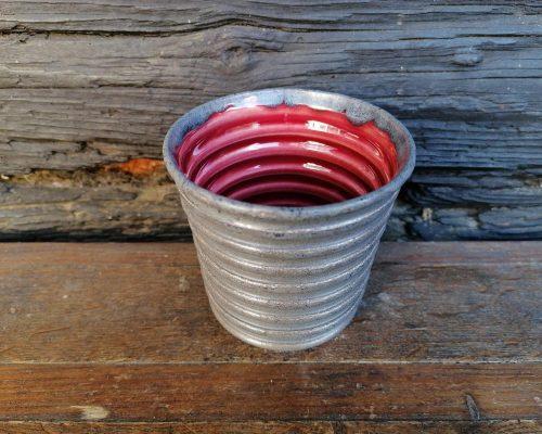 keramik pecher grau rot
