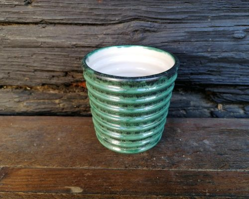 keramik pecher grün weiß
