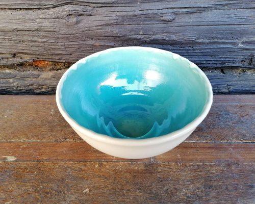 keramik schale weiß blau klein