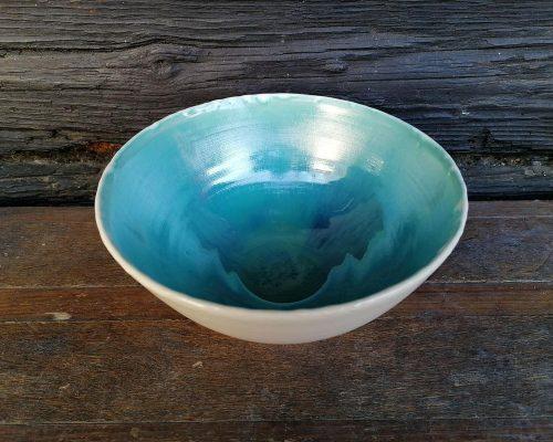 keramik schale weiß blau groß